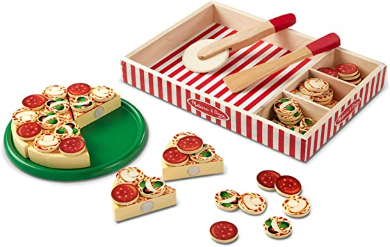 Melissa Doug Pizza Party Wooden Play Food Pretend Play Pizza Set Self Sticking Tabs 54 Pieces Great Gift For Girls And Boys Best For 3 4
