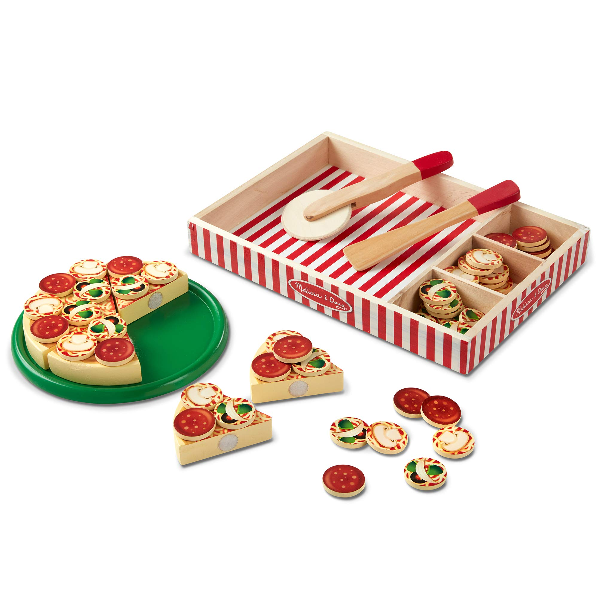 Melissa & Doug Pizza Party Wooden Play Food (Pretend Play Pizza Set, Self-Sticking Tabs, 54+ Pieces, Great Gift for Girls and Boys - Best for 3, 4, and 5 Year Olds) by Melissa & Doug