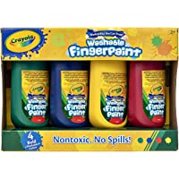 CRAYOLA 55 2005 Washable Kids Fingerpaints, Paint Supplies for Kids, 2 Years, 3 Years, Non-Toxic, Pre-School, 4 x 147ml