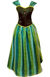 Adult Women Princess Elsa Anna Coronation Dress Costume