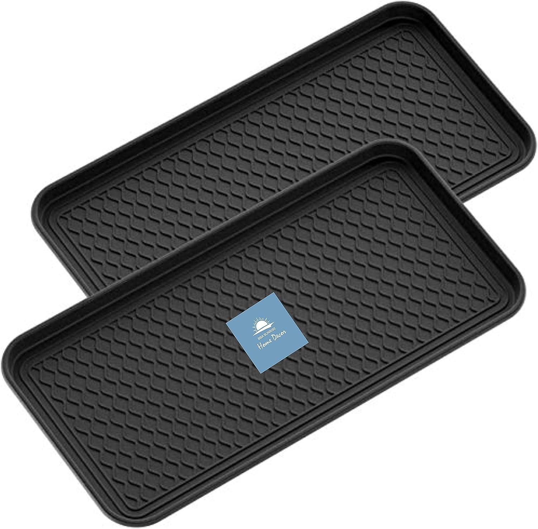 "BBA Sunrise | Multi-Purpose Boot Mat Tray (2-Pack), Black Boot Mat Tray, Indoor & Outdoor Boot and Shoe Tray, Dog Water Mat & Litter Box, Boot Drying Mat, Dirt Rug, 1 Pack 30"" x 15"" x 1.2"", Pack of 2"
