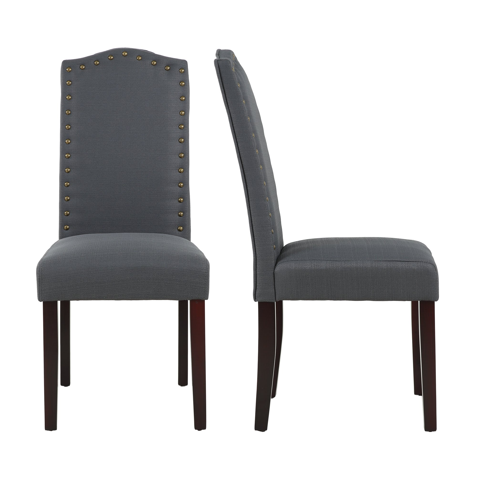 LSSBOUGHT Set of 2 Luxurious Fabric Dining Chairs with Copper Nails and Solid Wood Legs (Dark Gray)