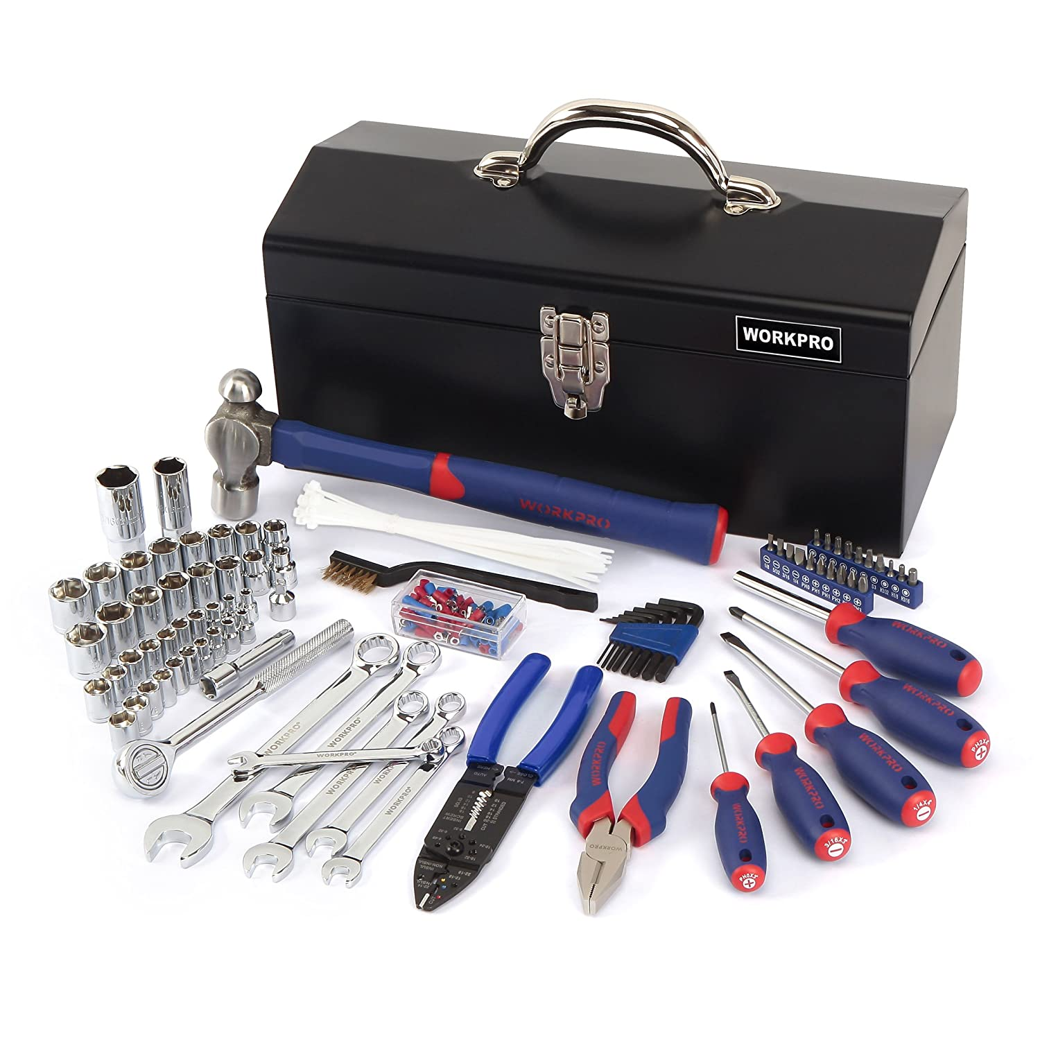 WORKPRO W009027A 160-Piece Mechanic Tool Kit, Daily use Basic Tool Set includes hammer, wrench, pliers, screwdriver and bits Hangzhou Great Star Industrial Co. LTD.