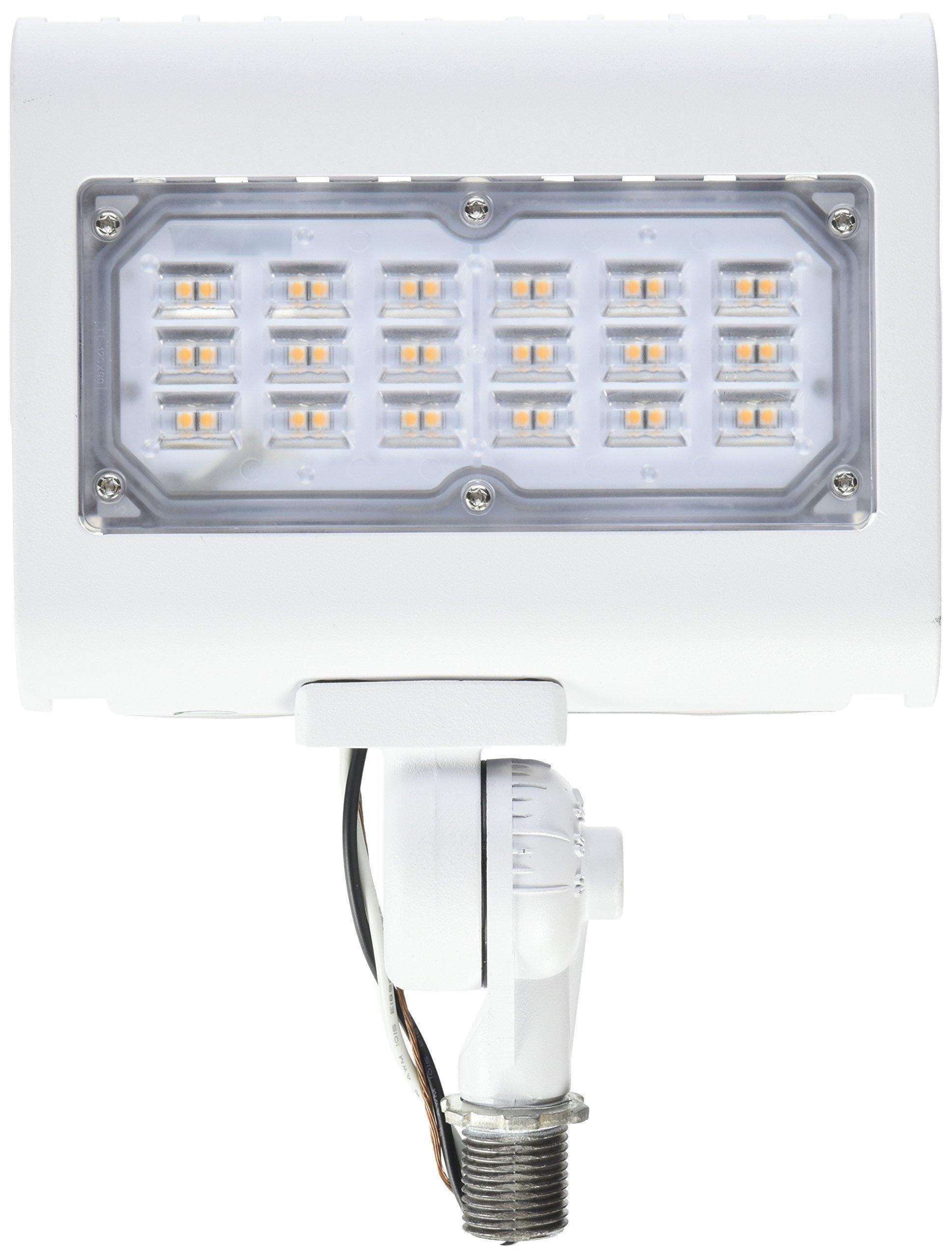 Morris 71556 30W 3000K LED Flat Panel Flood Light with 1/2'' Adjustable Knuckle Mount, 2900 lm, 120-277V, White