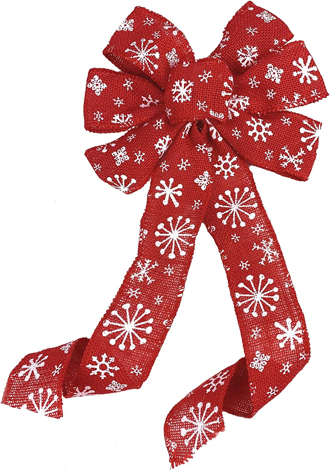 """White Snowflake Christmas Wreath Bow - 10"""" Wide, 18"""" Long Pre-Tied Bow, White Snowflakes, Red Burlap, Gift Basket, Swag, Garland, Winter Decoration, Front Door Decor, Christmas Tree Ribbon"""