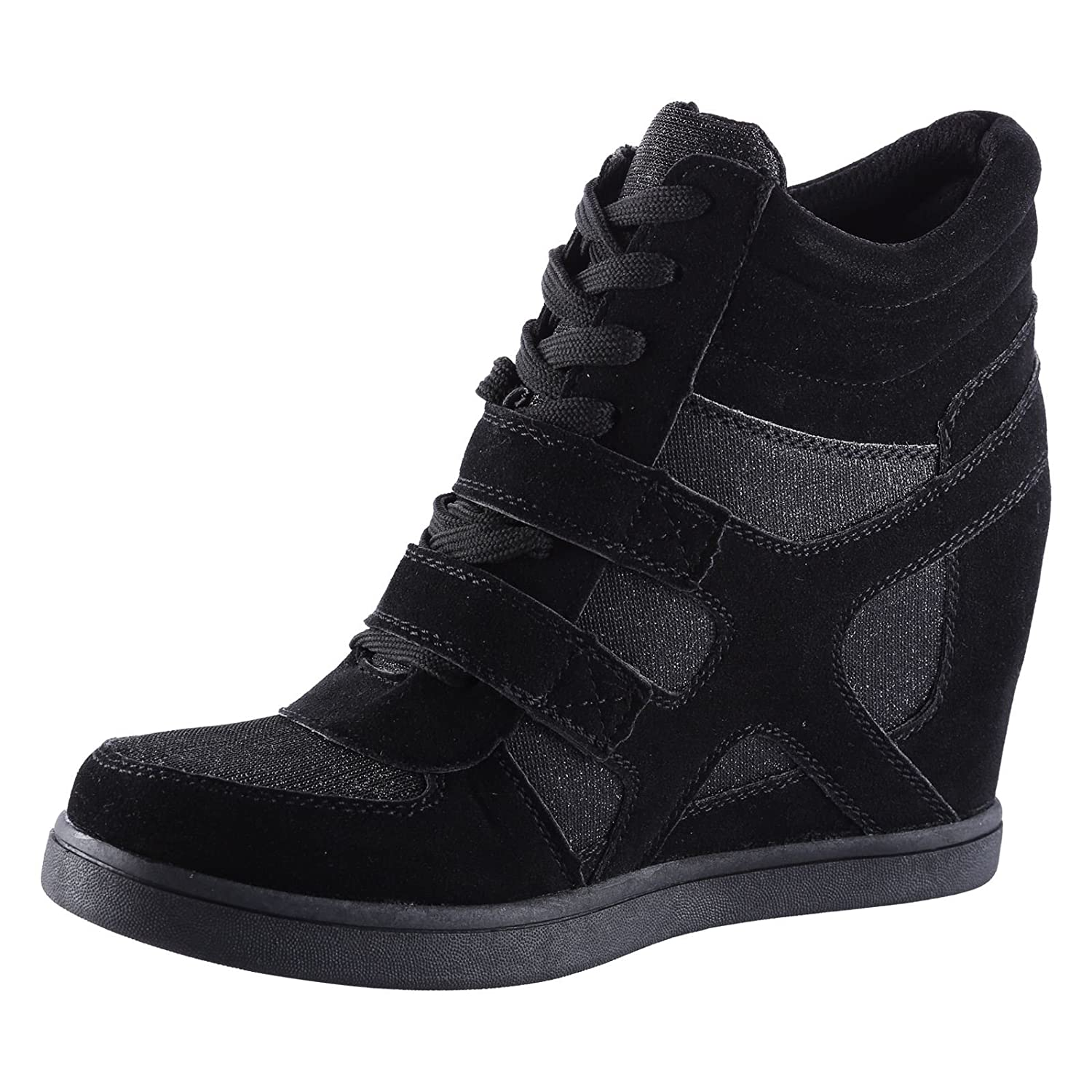 f209750cab0 ByPublicDemand Edie Womens Hidden Wedge Heel Shimmer Trainers   Amazon.co.uk  Shoes   Bags