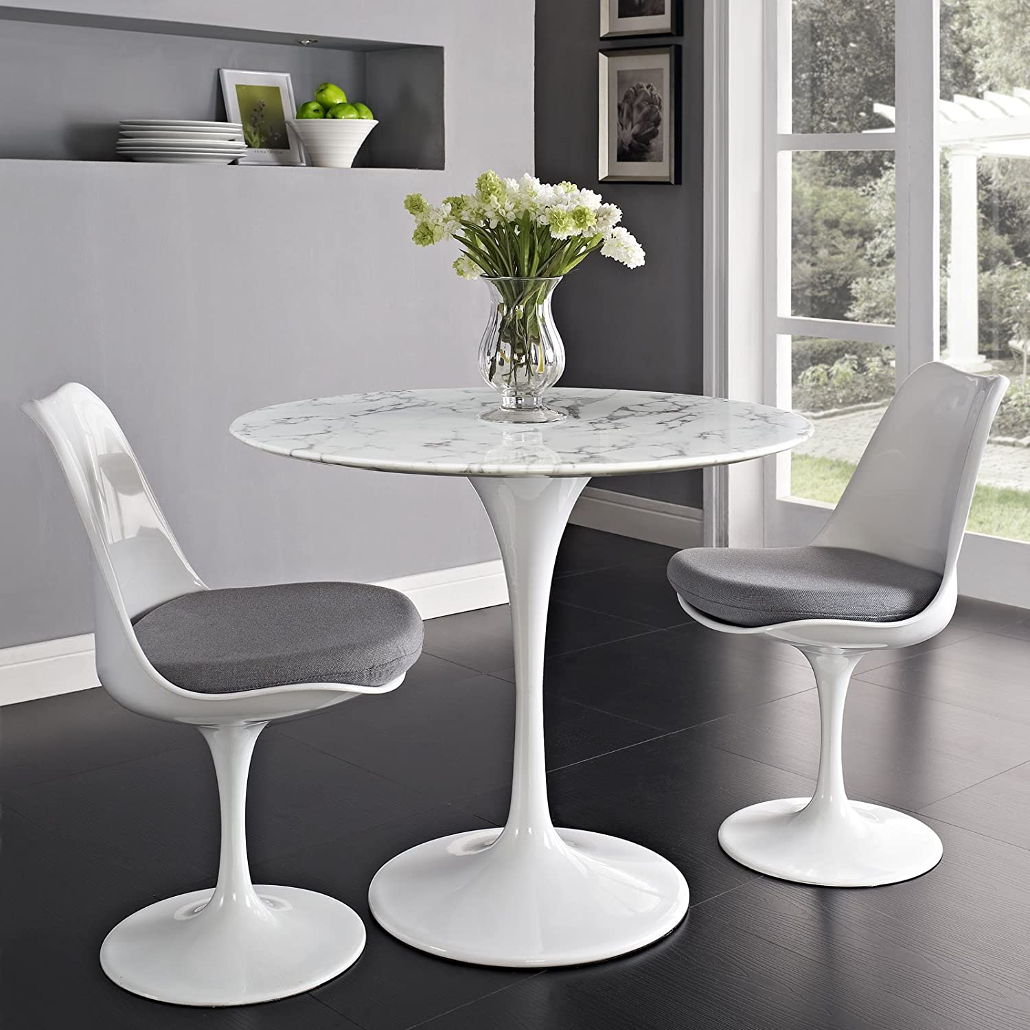 Amazoncom Modway Lippa Artificial Marble Dining Table In White - 30 round marble table top