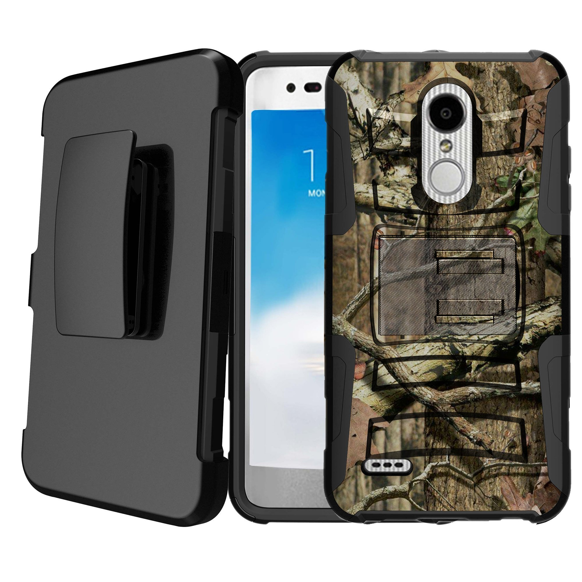 Untouchble | Camo Case for LG Stylus 4, LG Stylo 4 Holster Case [Heavy Duty Clip] Shockproof Dual Layer Future Armor Kickstand Case with Holster Belt - Hunting Tree Camo