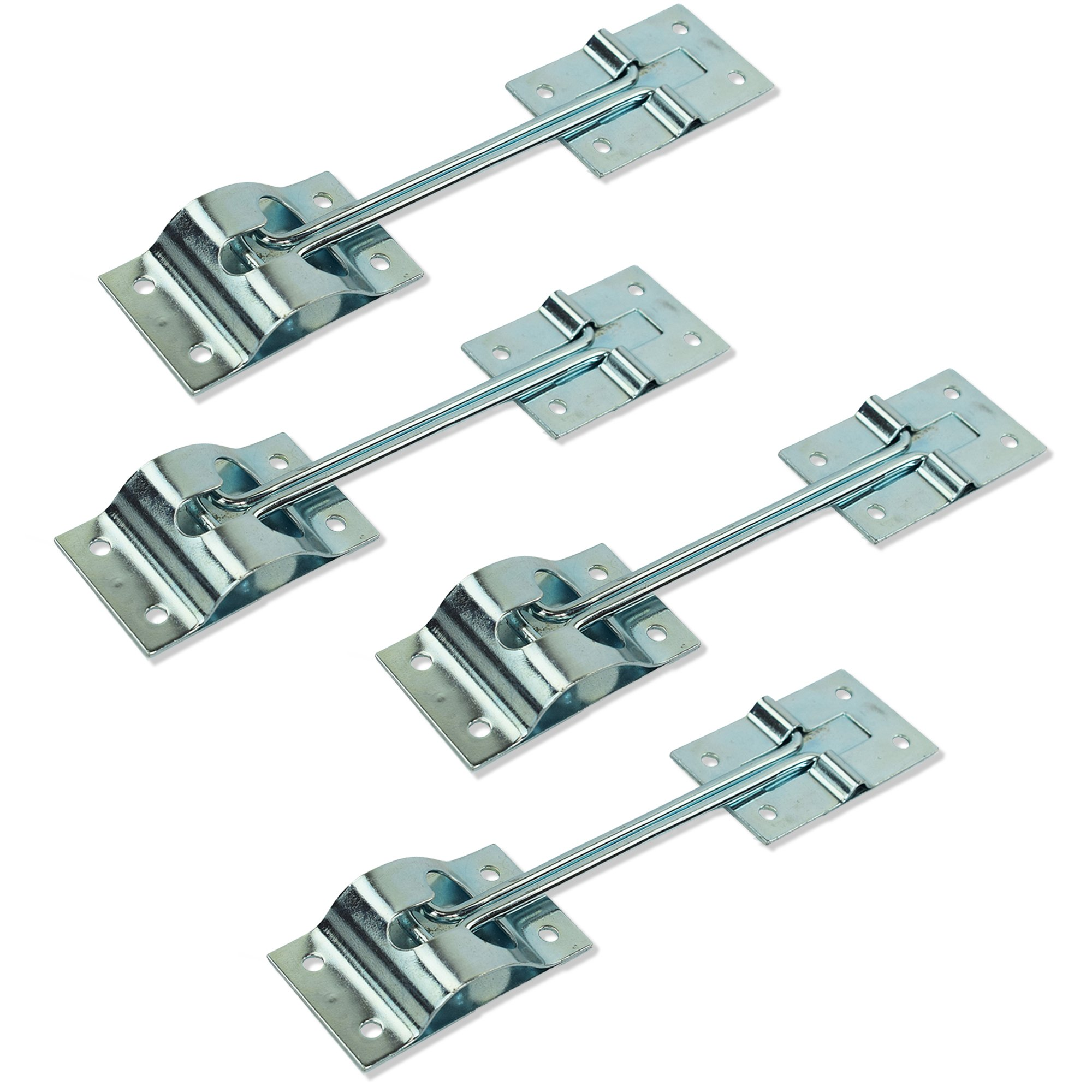 6'' Inch Metal T-Style Door Holder Entry Door Catch fits RV Trailer Camper Exterior Door Hold Hook & Keeper Hardware Zinc Plated Steel (4, 6'')