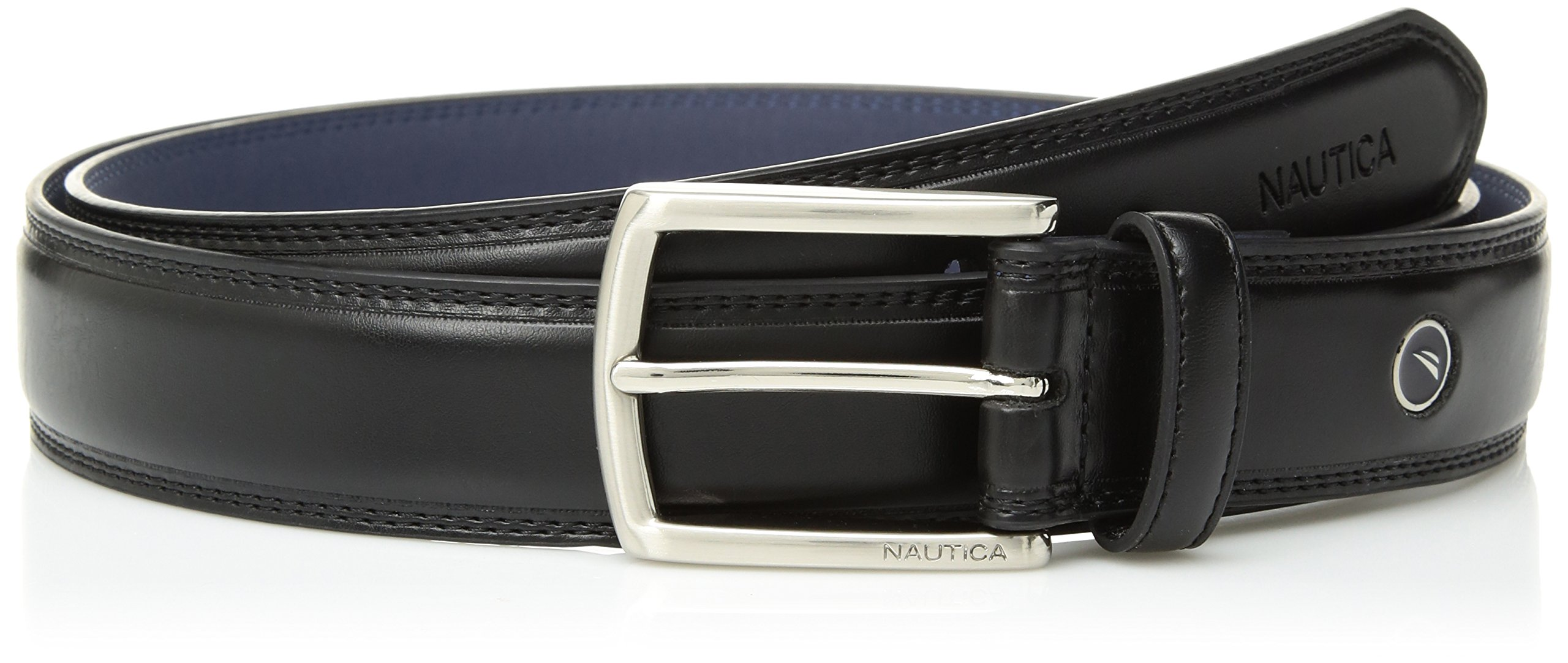 Nautica Men's Feathered Edge with Double-Stitch Casual Leather Belt,Black,42