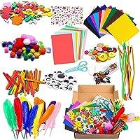 Knutselset voor kinderen, 1000 stuks, doe-het-zelf knutselkoffer, doe-het-zelf knutselkoffer, inclusief parels, veren…