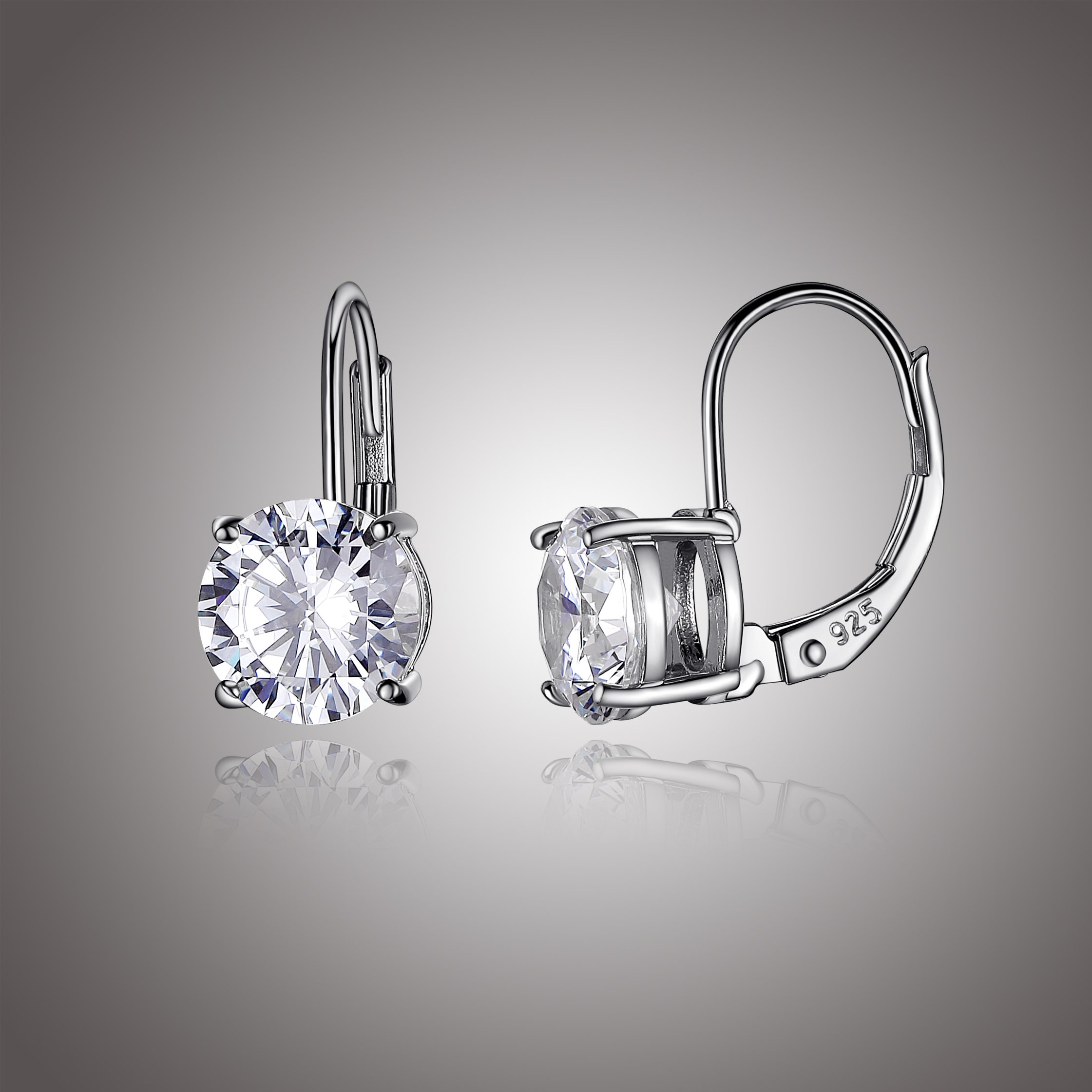 Platinum Plated Sterling Silver Round 6.5mm Cubic Zirconia Leverback Earrings