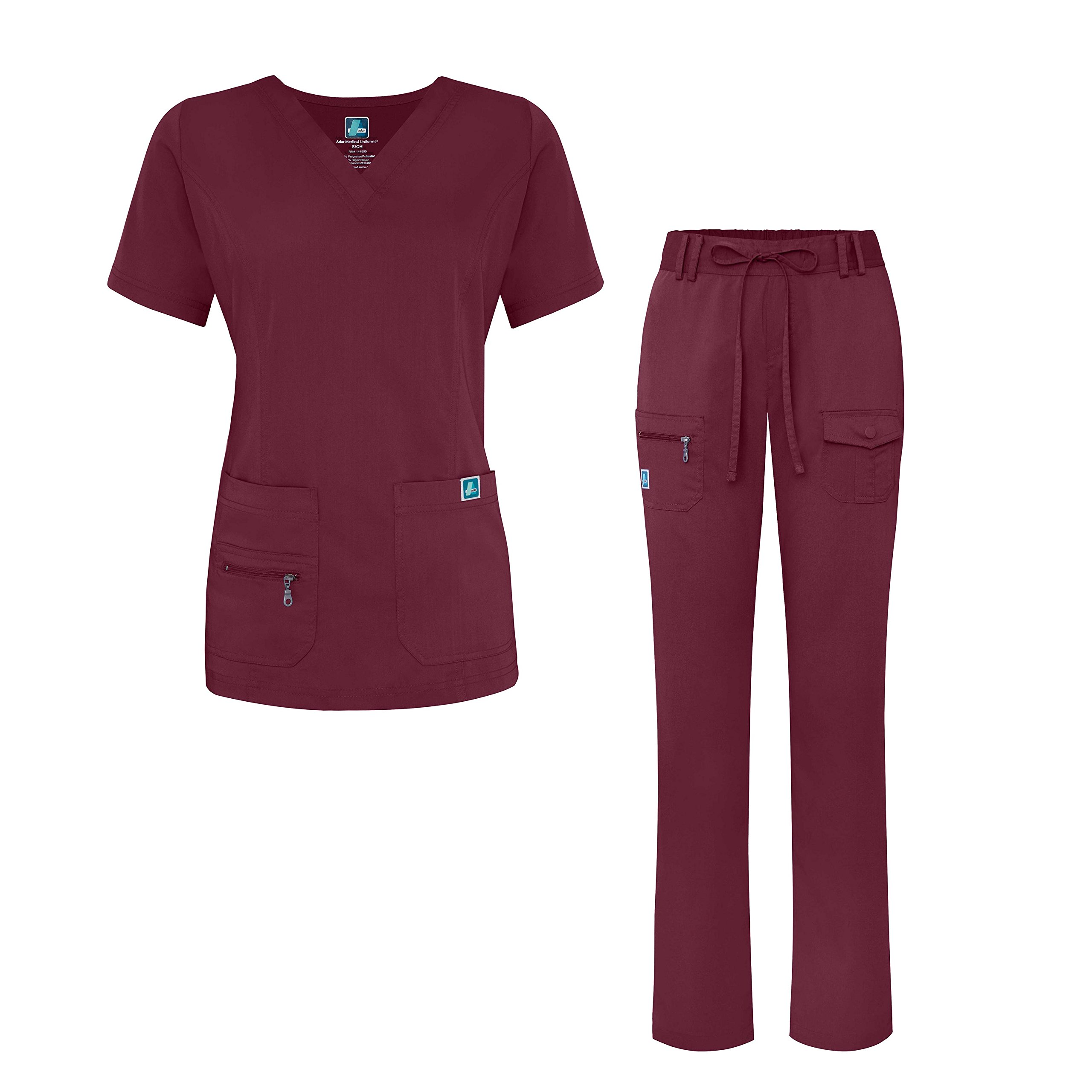 Adar Indulgence Jr. Fit Women's Scrub Set - Enhanced V-Neck Top/Multi Pocket Pants - 4400 - Wine - M