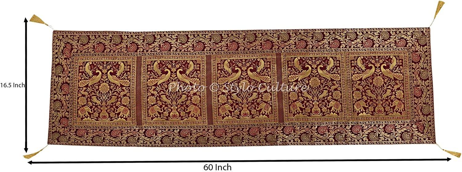 152 x 40 cm 60x16 Inches Stylo Culture Traditional Centre Table Runner For Dining Table Burgundy Maroon Brocade Jacquard /& Satin Tassels Bohemian Elephant Peacock Extra Long Indian Table Decor