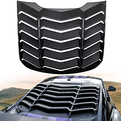 E-cowlboy Rear Window Louver Windshield Sun Shade Cover for Ford Mustang 2015~2020 in GT Lambo Style Custom Fit - All Weather (ABS Matte Black): Automotive