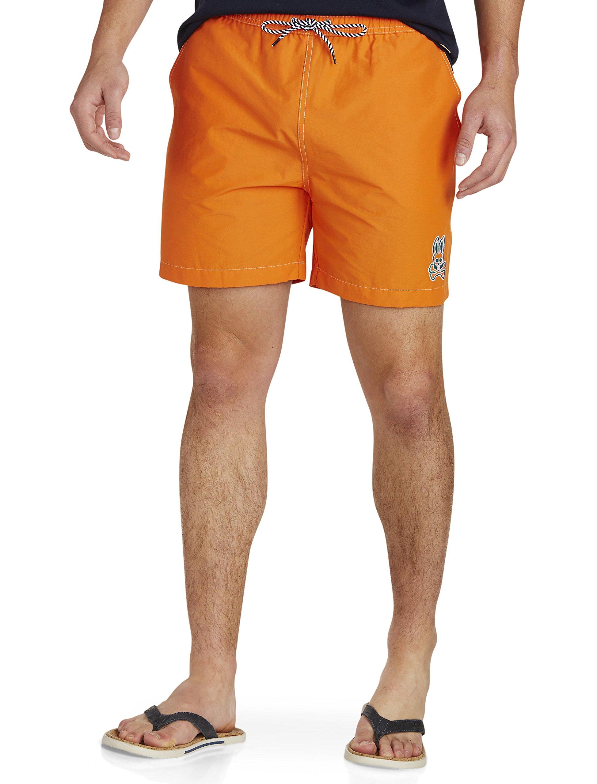 Psycho Bunny Big and Tall Solid Swim Trunks, kumquat Orange 2XL