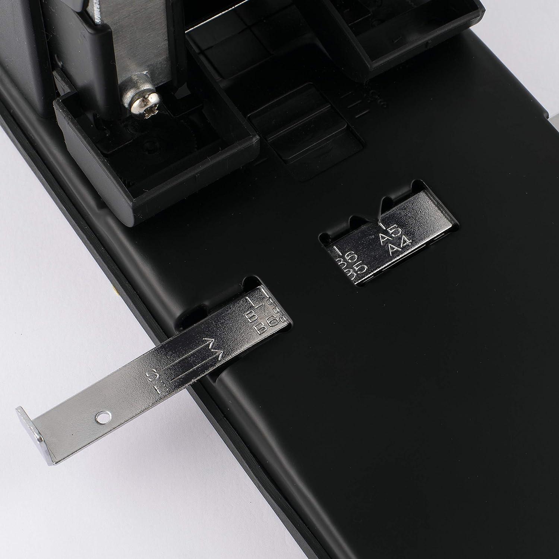 D.RECT 1300 Perforatore grande 2 fori ad alte prestazioni nero perforatore per documenti 100 fogli guida di arresto con indicazioni di formato