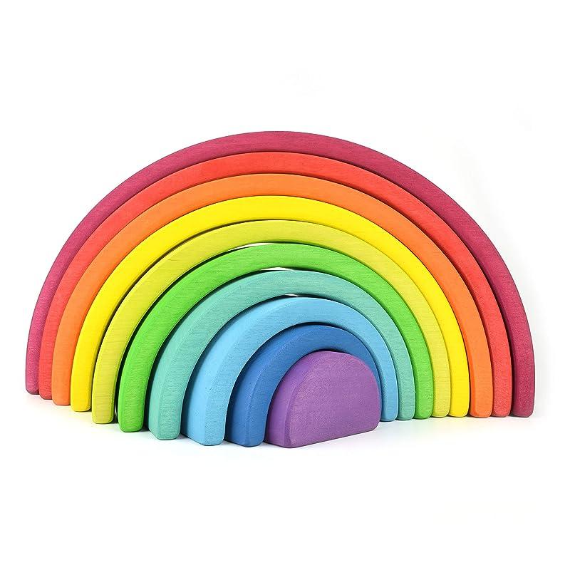 7 pcs Wooden Rainbow Stacker Nesting Puzzle Blocks Montessori Educational Toy