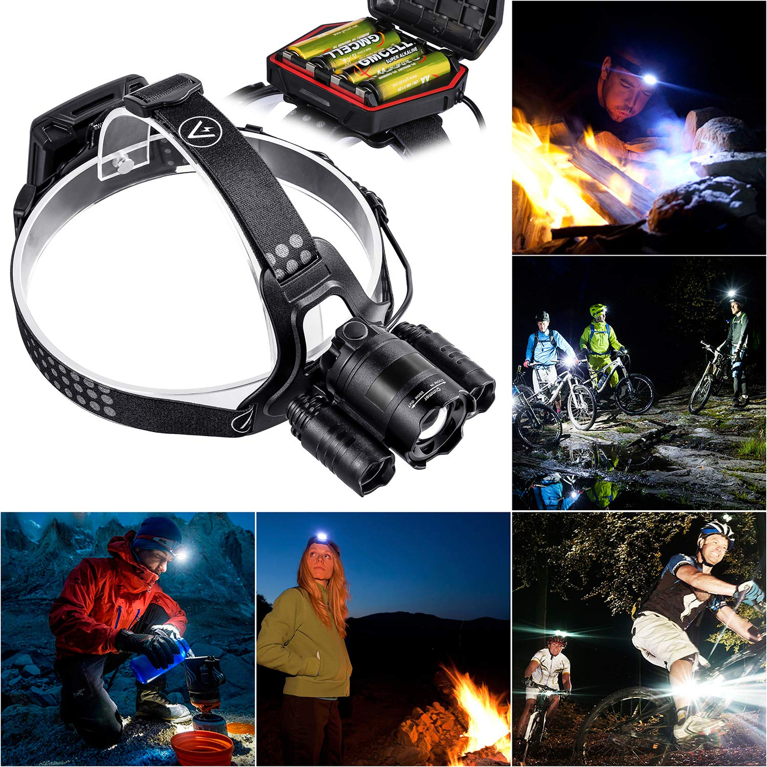 IP65 Water-Resistant AA Battery Included Akale Super Bright LED Headlights LED Headlamp Security Zoomable Emergency Use Night Readin 5 Light Modes for Camping
