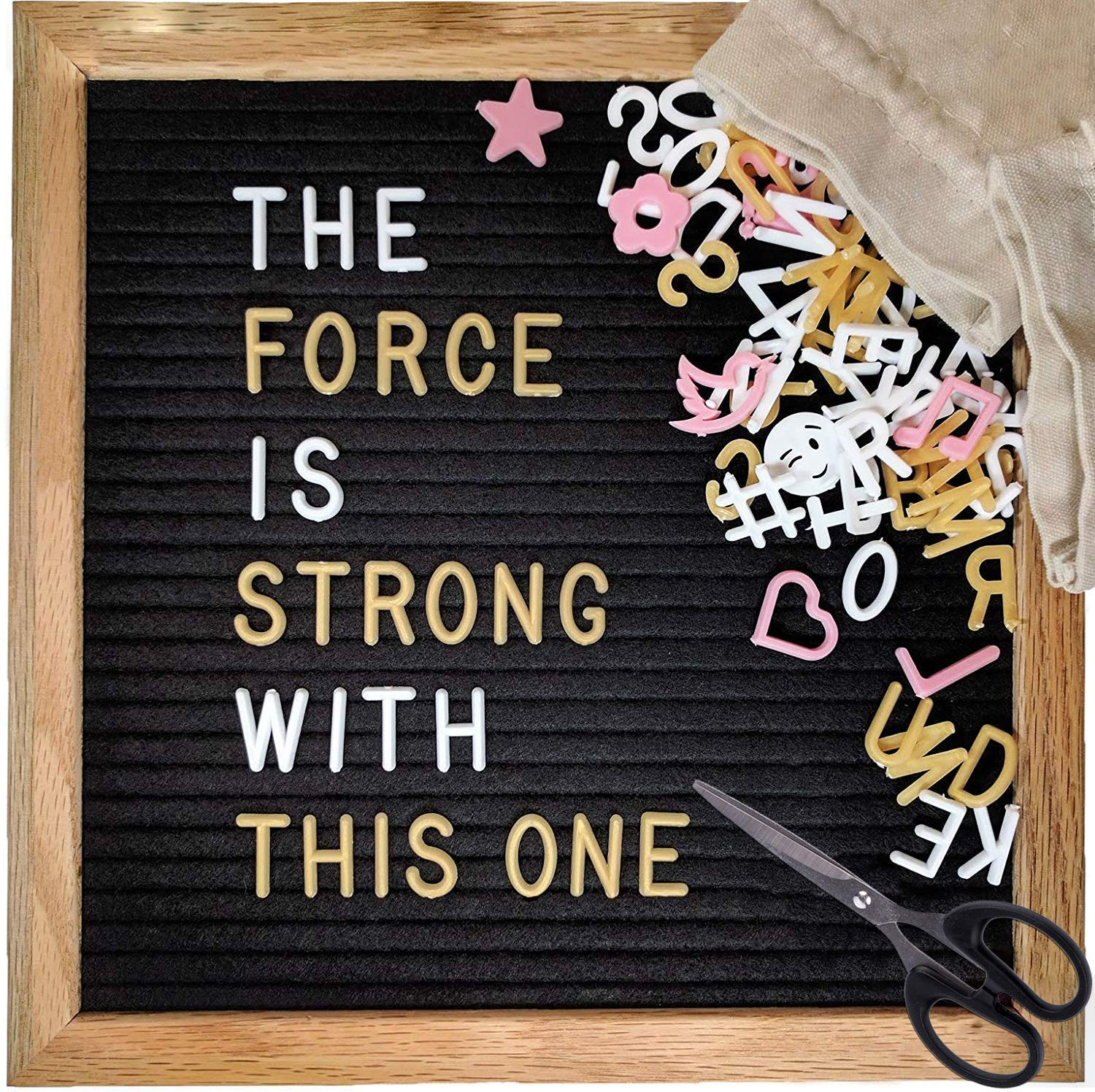 Changeable 10x10 Felt Letter Board Kit (Black, One-Sided) with 523 Characters (White, Pink & Gold) and Stand by Brite Crown
