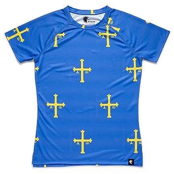 Camiseta Asturias Mujer, Manga Corta, Running, Gimnasio #PatriaQuerida: Amazon.es: Deportes y aire libre