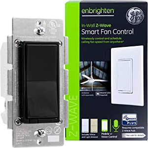 GE Enbrighten Z-Wave Plus Smart Fan Control, Works with Alexa, Google Assistant, 3-Way Compatible, ZWave Hub Required, Repeater/Range Extender, Black, 35544