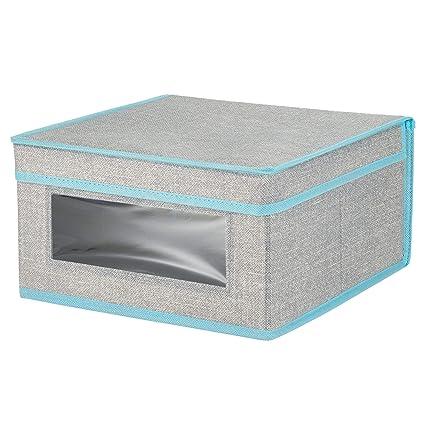 mDesign Caja de tela apilable con ventana transparente – Caja con tapa mediana para guardar prendas