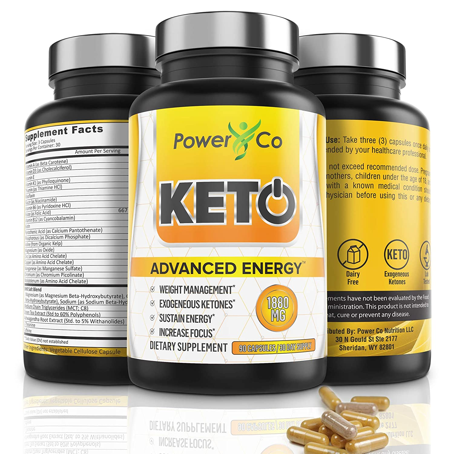 Keto Diet Pills for Energy – Powerful Metabolism Boost – Ketosis Supplement, Manages Cravings, Increases Focus – BHB Exogenous Ketones, C8 MCT Oil, Electrolytes, Ashwagandha – 90 Capsules by PowerCo