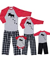 Moose Tracks Matching Family Baseball Pajama Pant Sets; Playwear for Kids