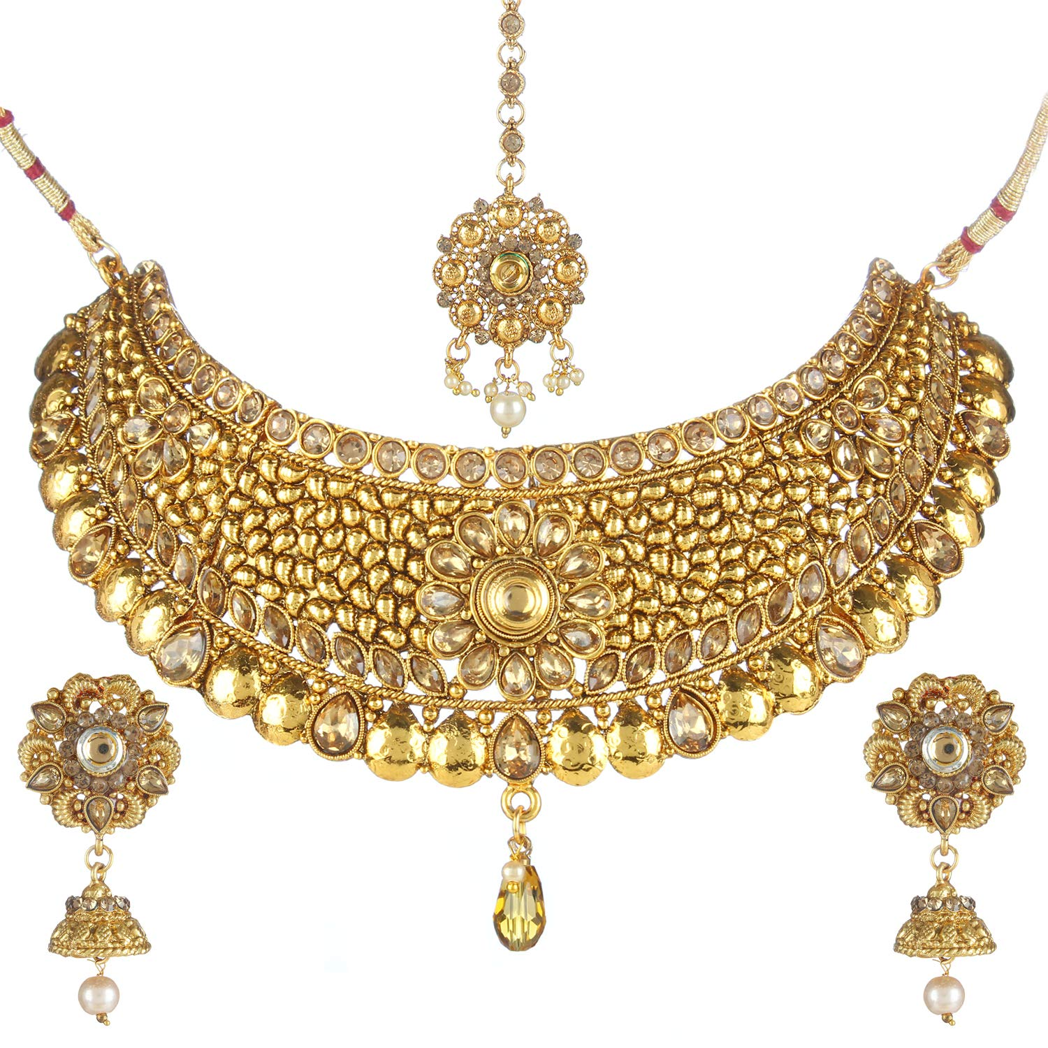 Buy Jewels Gold Alloy Fashion Designer Beautiful Necklace Set For