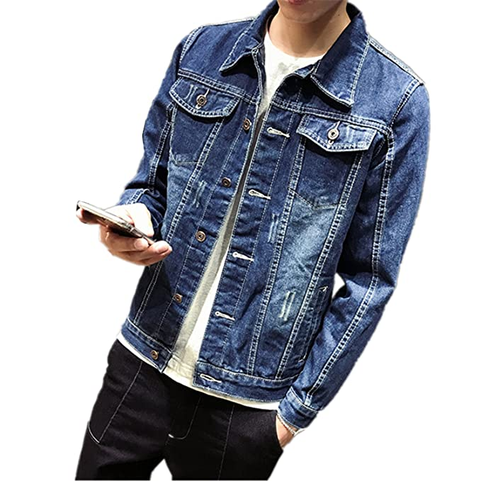 Chiffoned Solid Casual Slim Mens Denim Jacket Plus Size S ...