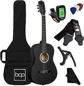 Best Choice Products 38in Beginner All Wood Acoustic Guitar Starter Kit w/Case, Strap, Digital Tuner, Pick, Strings - Matte Black