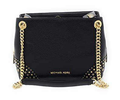 833f90eaa4d3 Amazon.com: Michael Kors Jet Set Medium Messenger Shoulder Bag Chain Tote  Black Studded: Shoes
