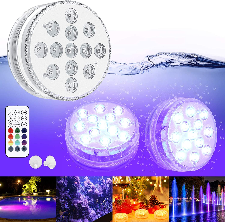Luces Sumergibles GolWof Led Sumergible 2 Pack 13 LEDs 16 Colores Luz LED Impermeable IP68 Luz Sumergible con Control Remoto Luz de Piscina para Decoración Piscina Jarrón Bodas Halloween Navidad