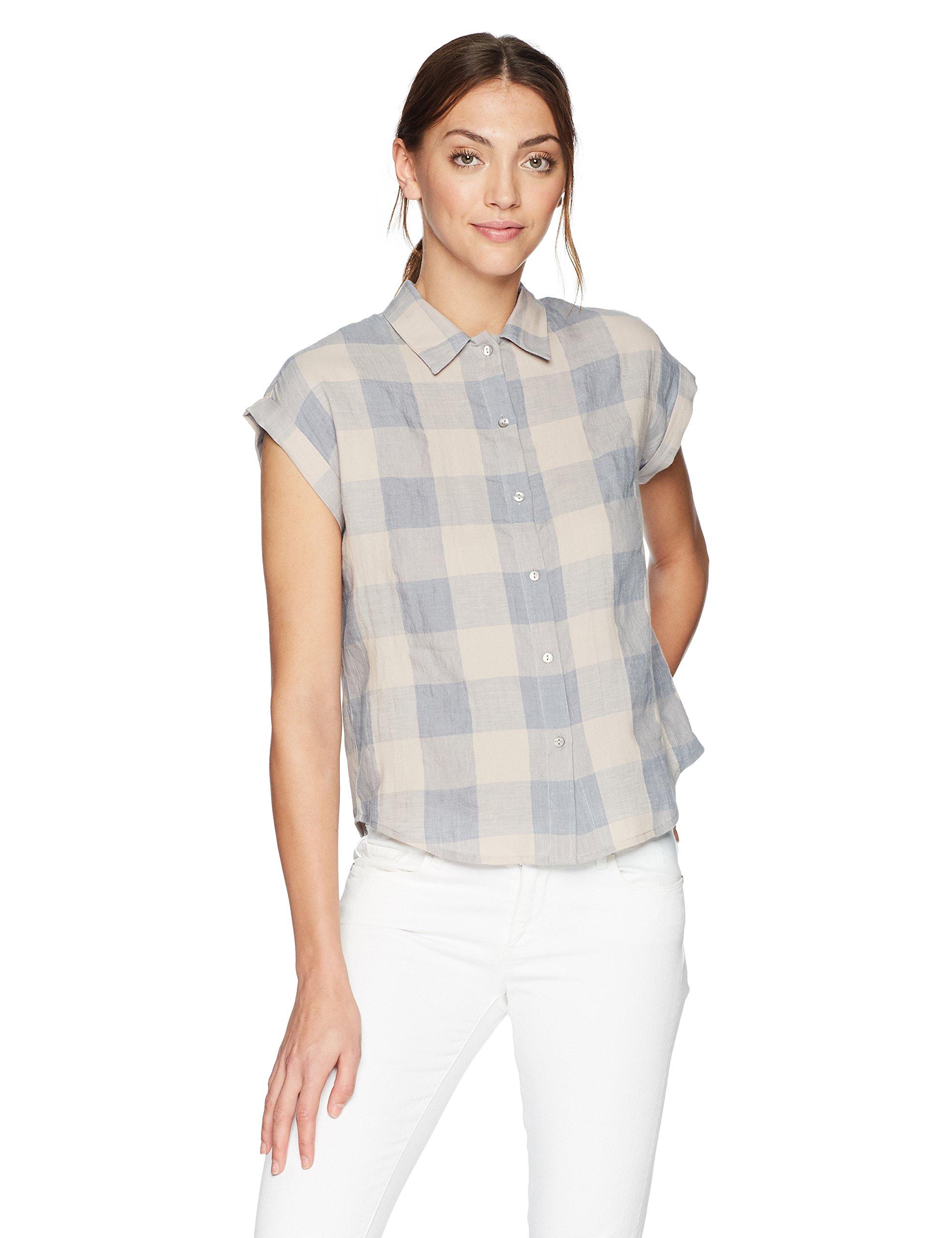 Lucky Brand Women's Short Sleeve Button up Plaid Top, Blue/Multi, S