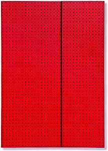 مفكرة بيبر أوه - كوادرو أحمر على أسود, ورق  B6 (مسطر)