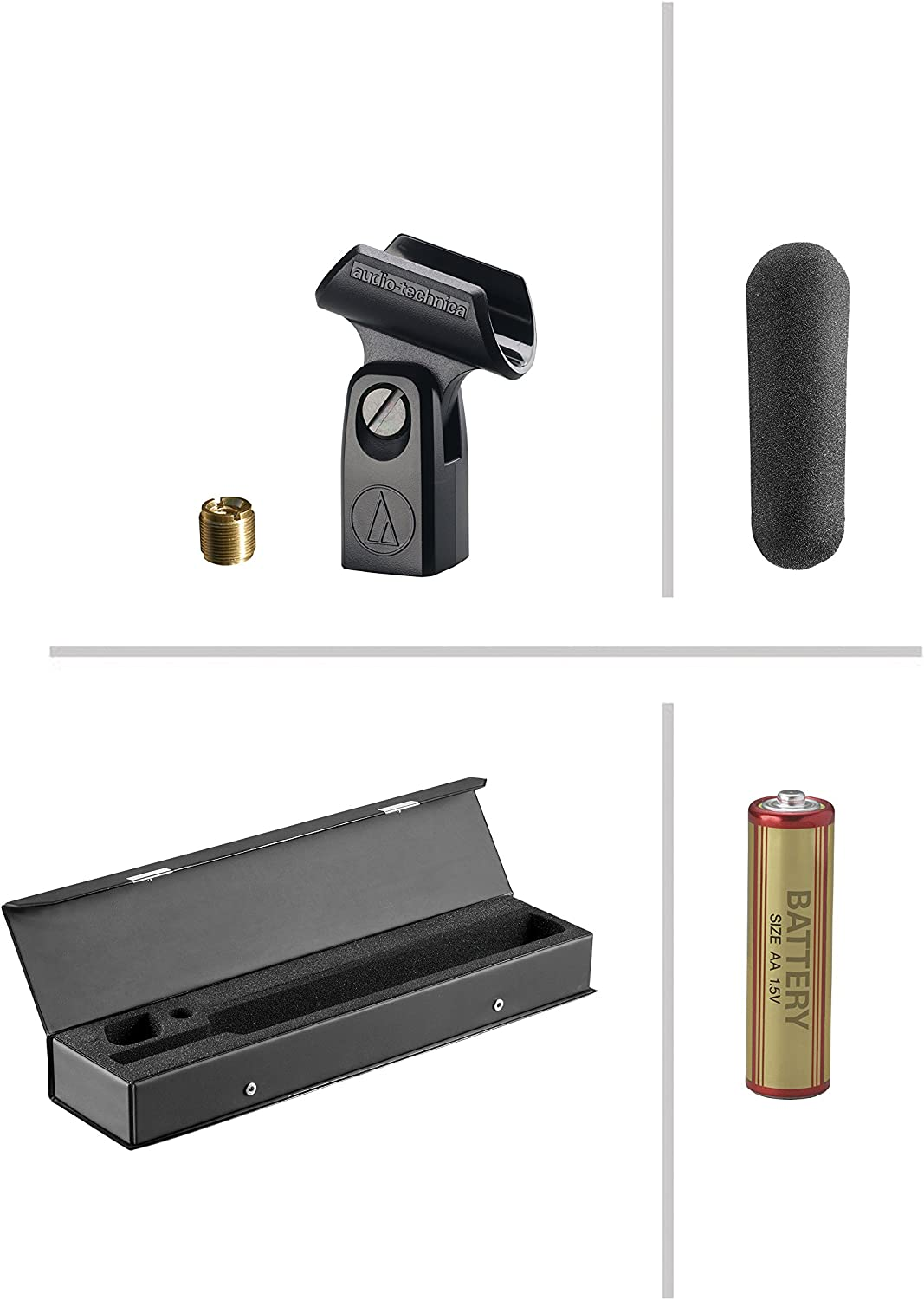 Carrying Case Audio-Technica AT897 Line AA Battery and Extended Warranty Windscreen Includes Gradient Condenser Microphone