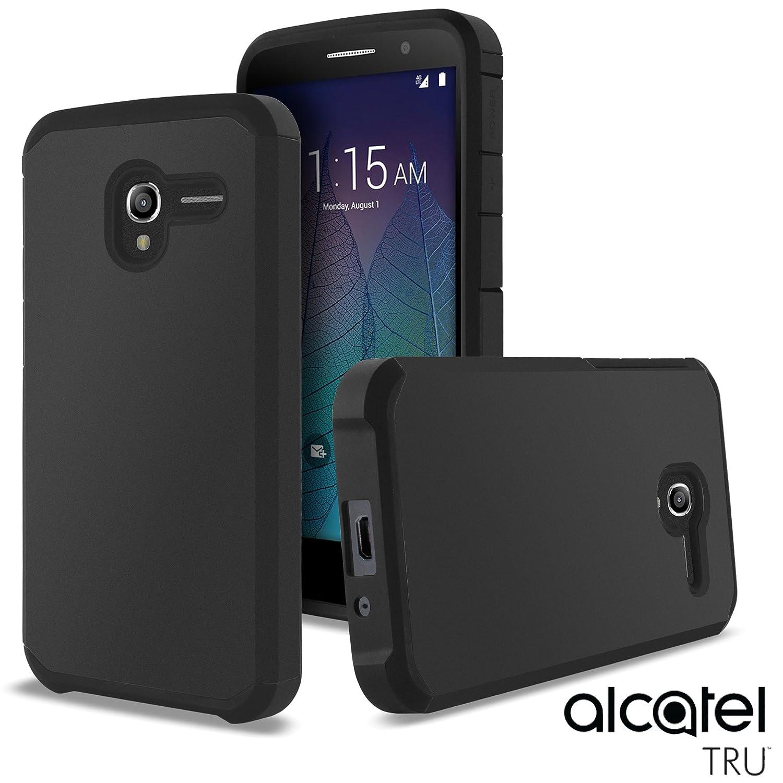 Alcatel TRU Case, Alcatel Stellar Case, Celljoy [Liquid Armor] (Metallic Black) Hybrid Slim Fit Protective TPU ((Shockproof)) Dual Layer {Impact Resistant} Reinforced Bumper - Thin Hard Cover