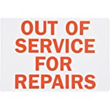 """SmartSign Magnetic Sign, Legend """"Out of Service For Repairs"""", 7"""" high x 10"""" wide, Red on White"""