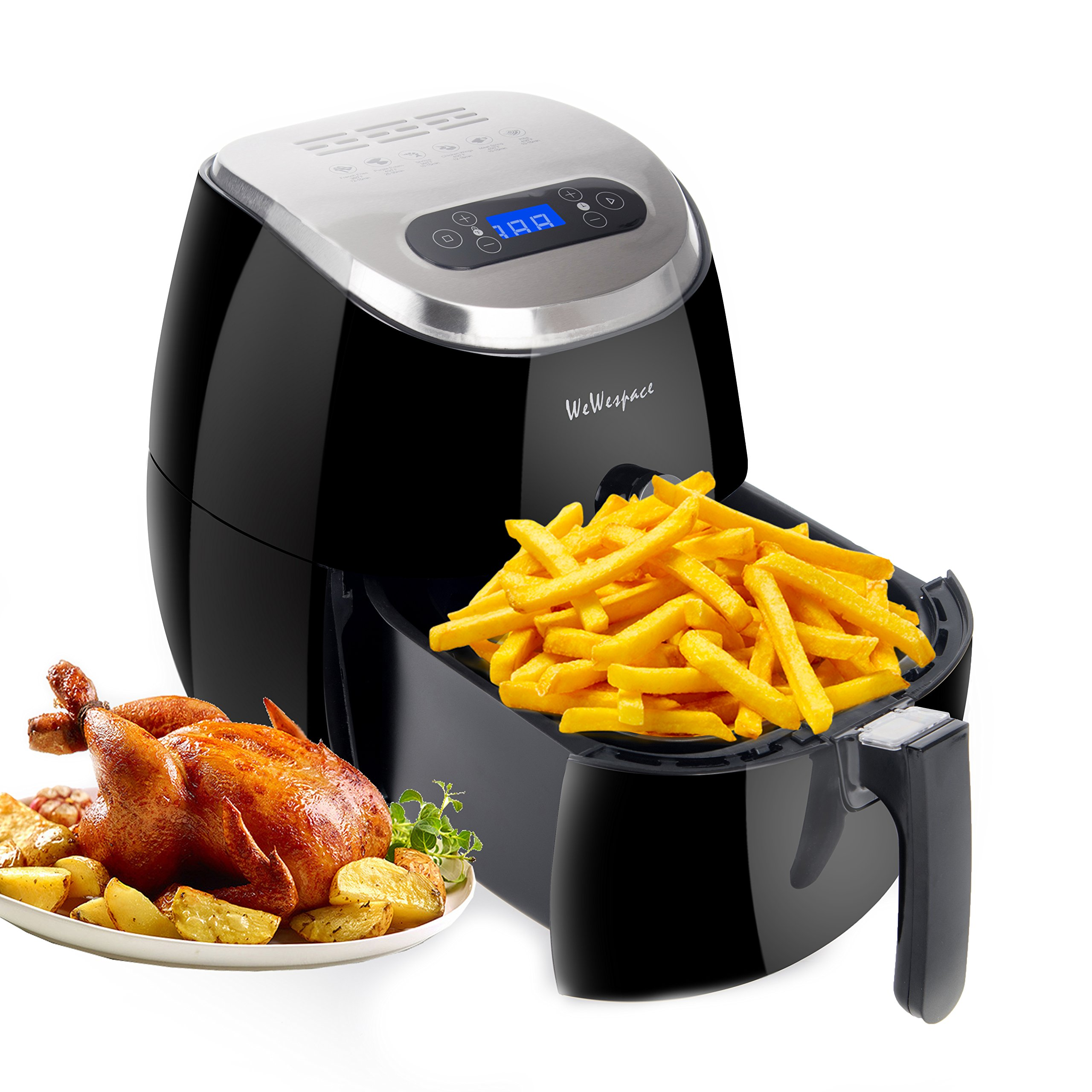 WeW Electric Digital Air fryer 3.7 Quarts with LED Touch Display,Oil Free,Black - Dishwasher Safe - Auto Shut off & Timer