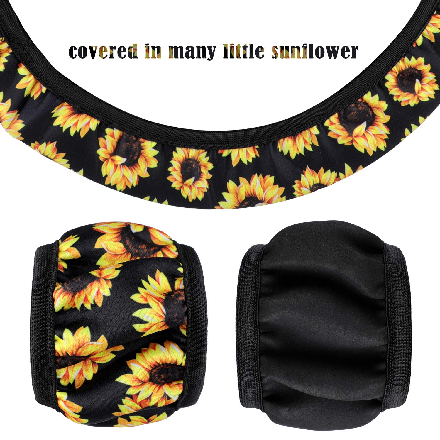 Sunflower Car Accessories Sunflower Steering Wheel Cover with 2 Pieces Cute Sunflowers Keyring and 2 Piece Car Vent Decorations