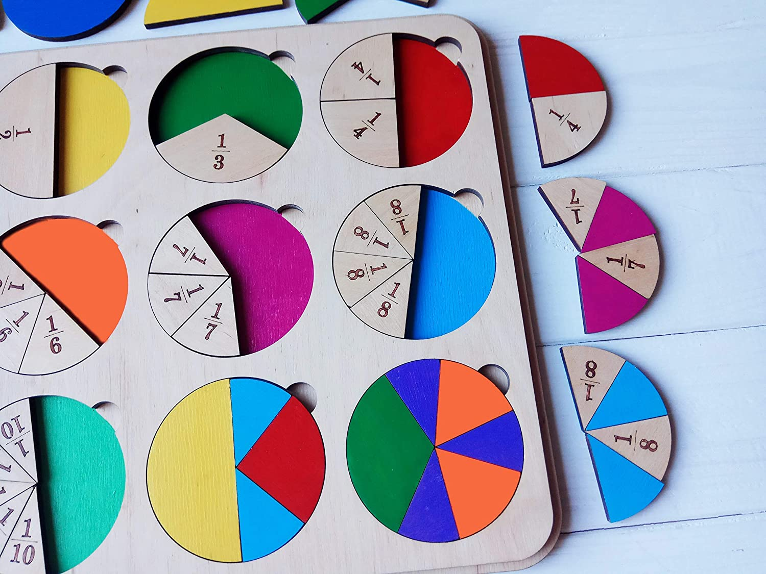 Wooden Fraction Puzzle Teaching Mathematic Fraction Educational Toy Montessori Puzzle for Child