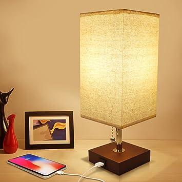 Usb Bedside Table Lamp Seealle Solid Wood Nightstand Lamp