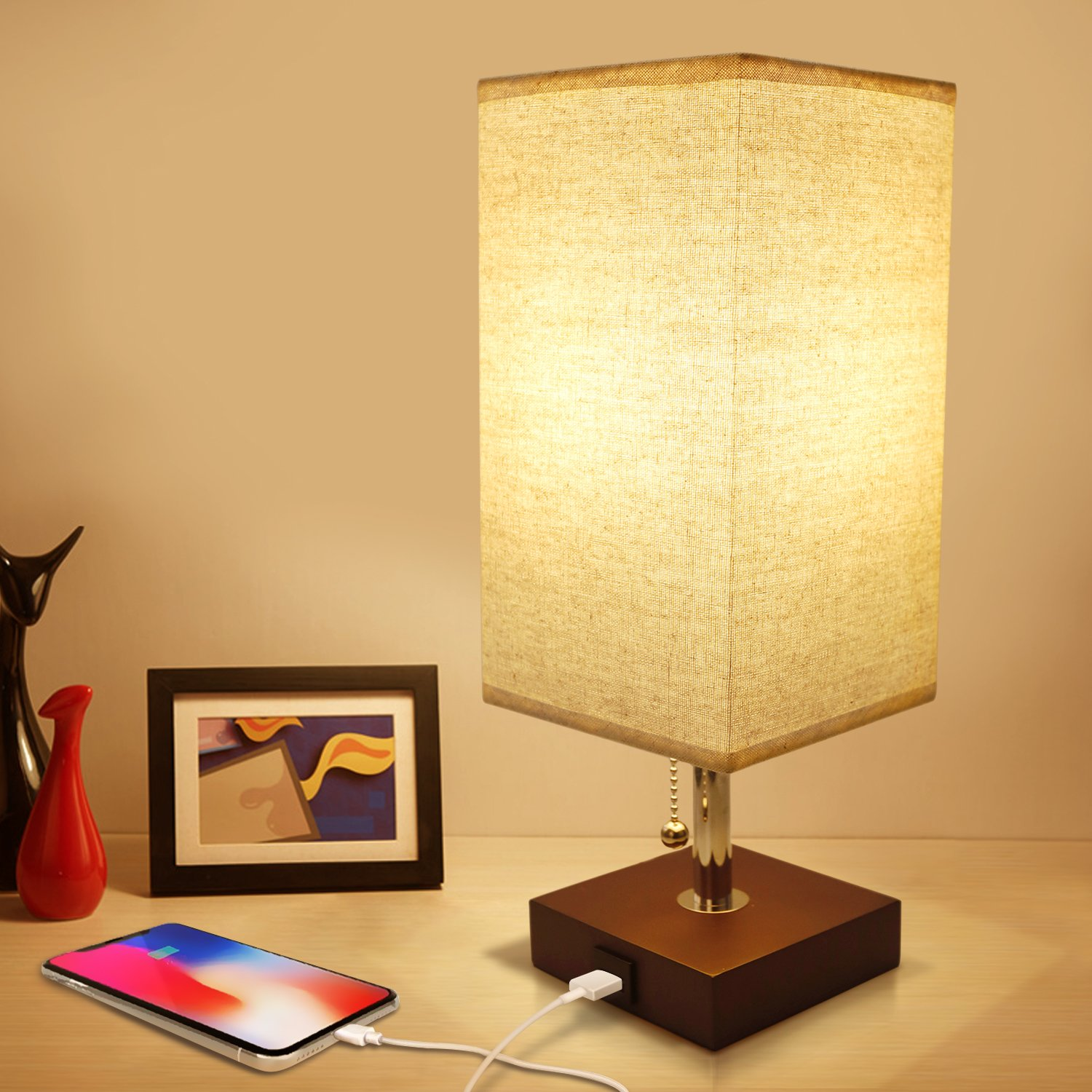 Usb Bedside Table Lamp Seealle Solid Wood Nightstand Lamp