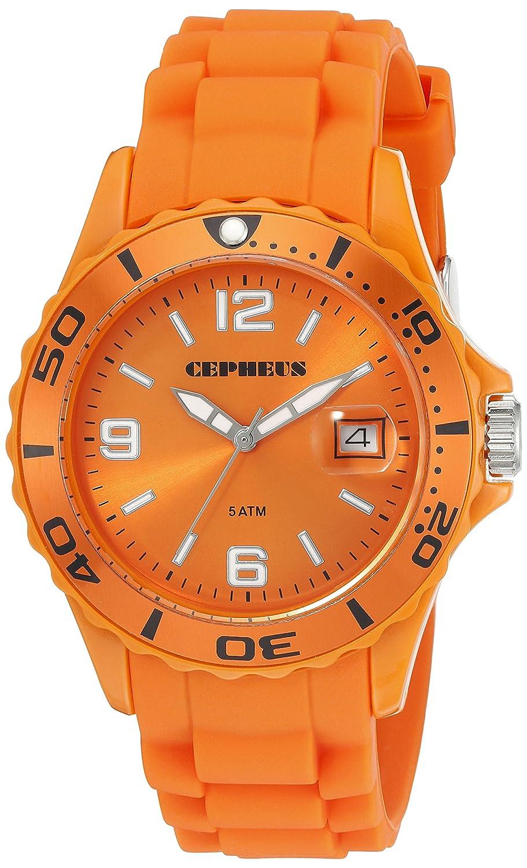 CEPHEUS CP603-090E-1 - Reloj analógico de Cuarzo para Hombre, Correa de Silicona Color Naranja