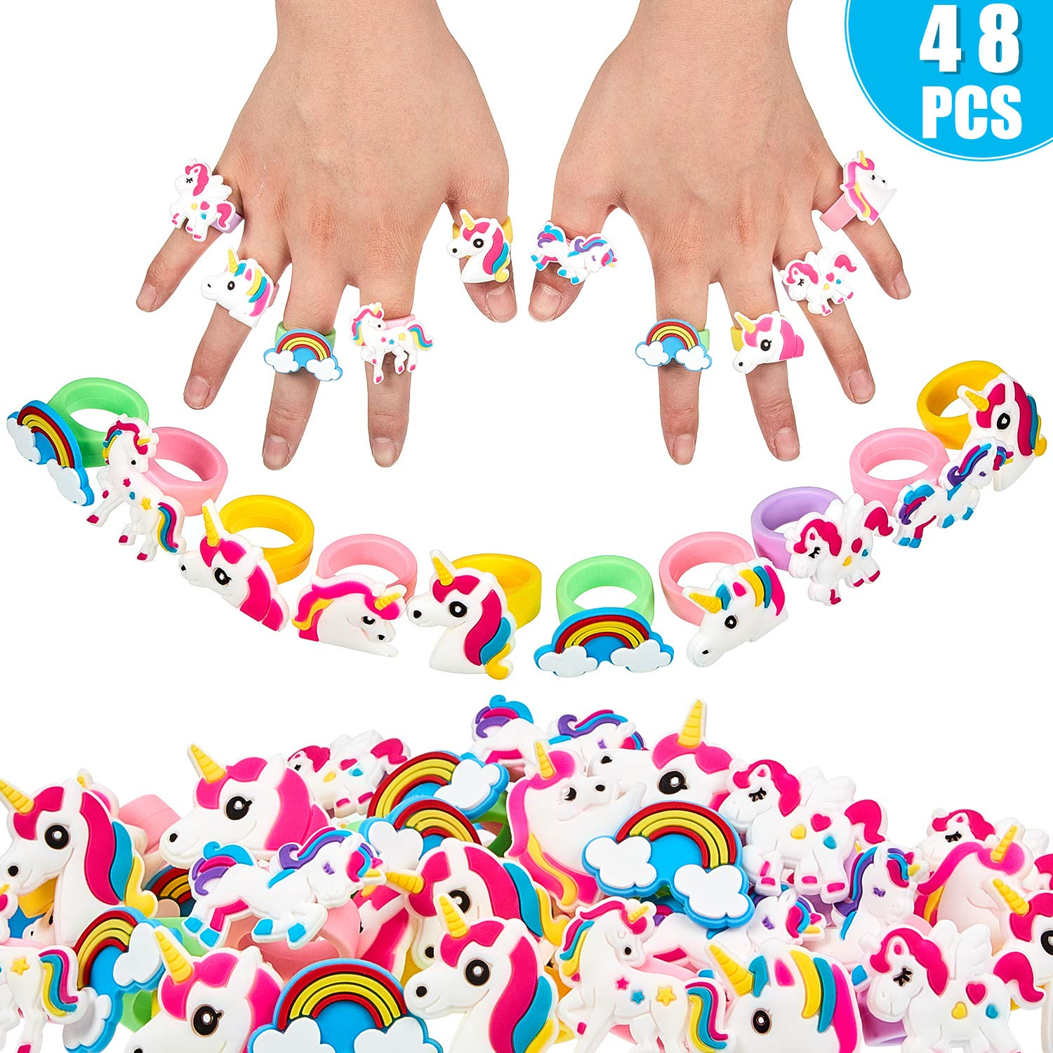 Gejoy 48 Pieces Unicorn Rings Rainbow Rings Multi-Color Rubber Unicorn Cupcake Rings for Unicorn Themed Party Favors by Gejoy