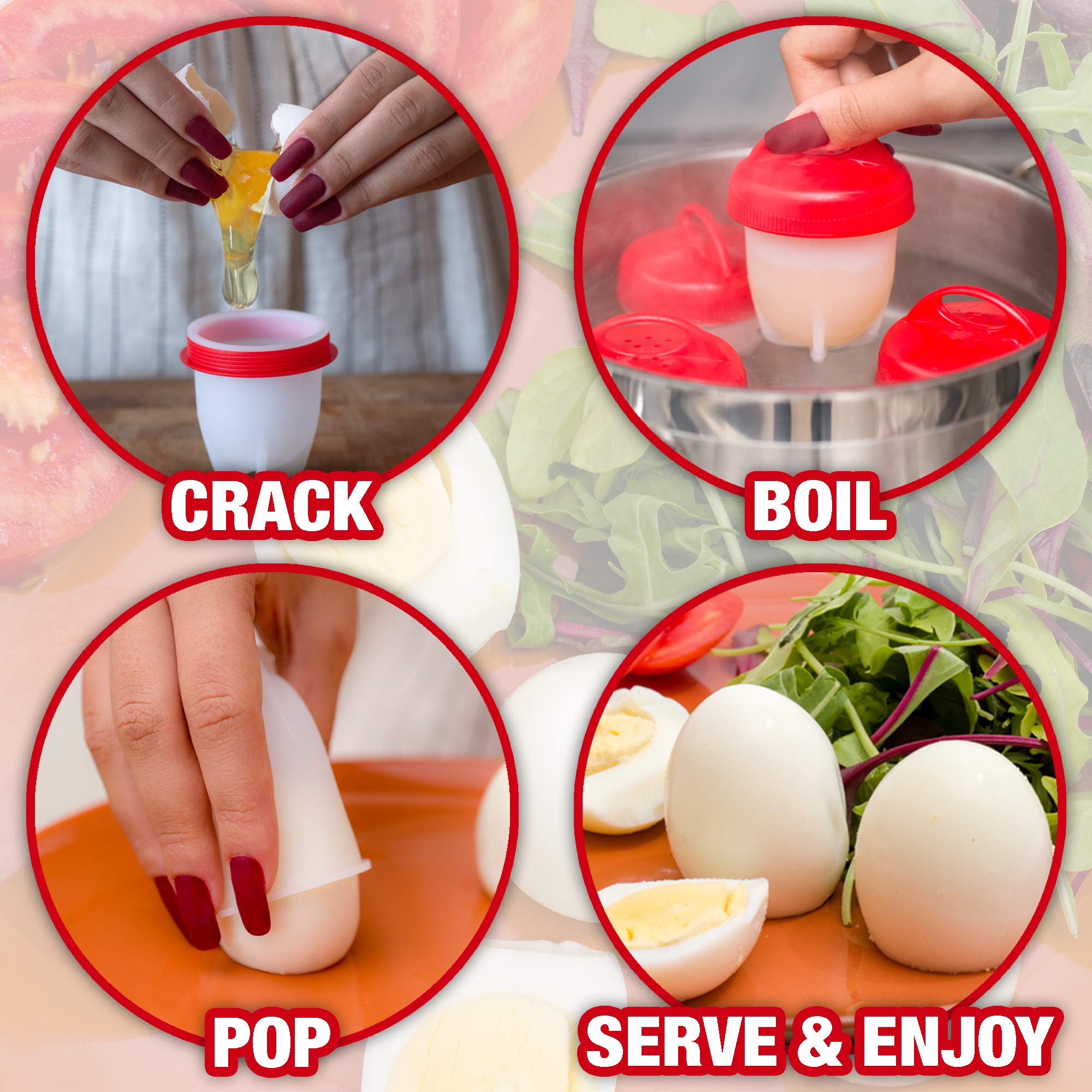 Egg Cooker Cups - for Hard and Soft Boiled Eggs Without Shells. Set of 6 Made from Non-Stick, BPA Free Silicone. As Seen on TV. Easy to Use. Bonus Recipe eBook. Delicious Healthy Egg Dishes Every Time