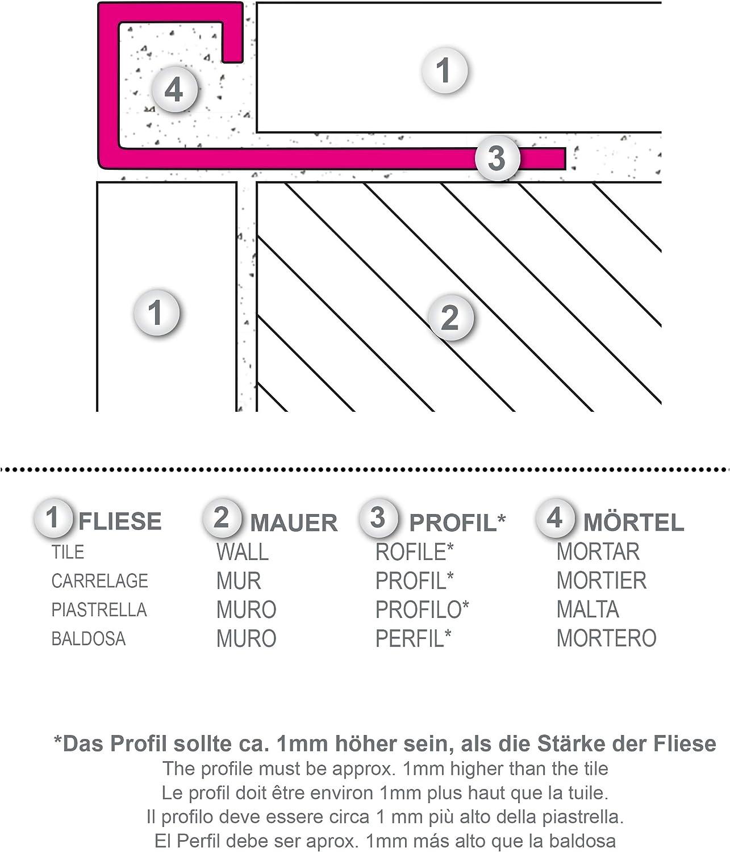 2,5 MEDIDOR Altura: 8mm PREMIO perfil de baldosas cuadrados inox acero V2A cepillado 1mm material 250cm longitud perfiles