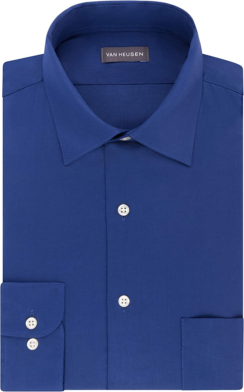Van Heusen Men's BIG FIT Dress Shirts Lux Sateen Stretch Solid (Big and Tall): Clothing