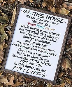 Wendore Friends Tv Show Sign| Farmhouse Decor | in This House | Home Decor | Framed Wood | Farmhouse | Friends Home Decor-835191